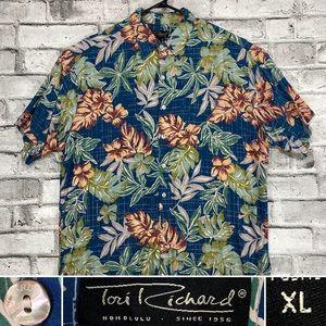 Tori Richard Honolulu Mens XL Blue Tropical Floral Hawaiian Rayon Shirt